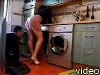teasing a service man and filming it on hidden cam